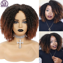 Curly WIGS Headgear Short Nature Hair Brown Afro Kinky Middle-Part Black Synthetic Ombre