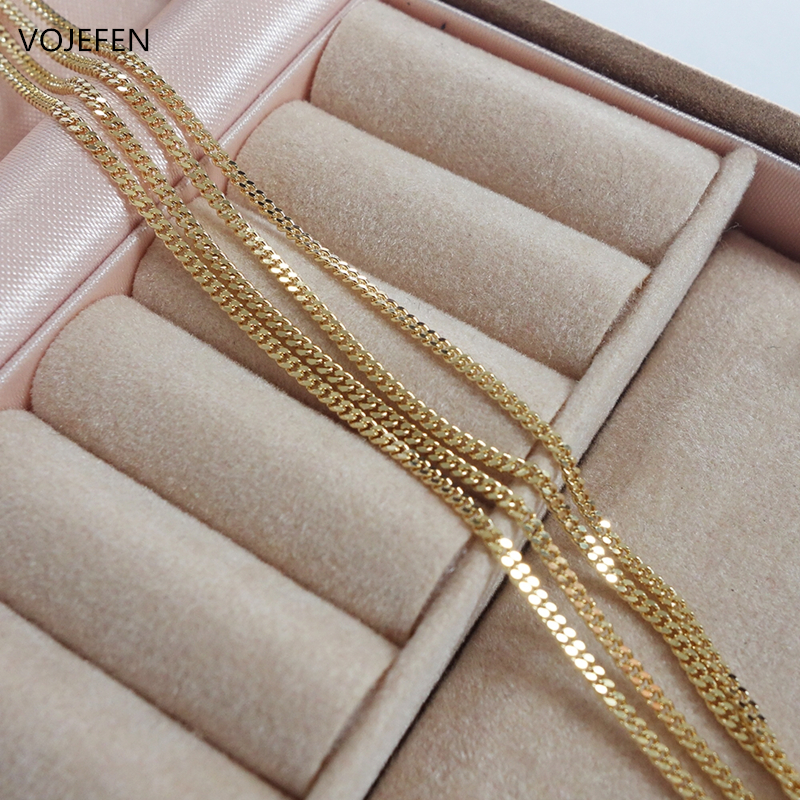 VOJEFEN AU750 18k Real Gold Chain Necklace for Women/Men, Pure Golden Big Link Choker With Fine Jewelry Gift 2021 NEW 3