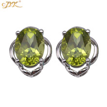 JYX New Olivine Earrings Shining Faceted 6*8mm Elegant Peridot earrrings sterling silver Women Daily Jewelry