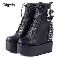 Gdgydh 2019 Round Toe Metal Rivets Ankel Boots For Women Black White Gothic Female Shoes Drop Shipping Wedges High Heels Shoes