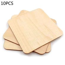 5pcs Wooden Blank Plaque Square Wood Pieces Tags DIY Craft Pyrography Projects Games Scrapbooking Ornament 70mm cheap CN(Origin) Unfinished Wood
