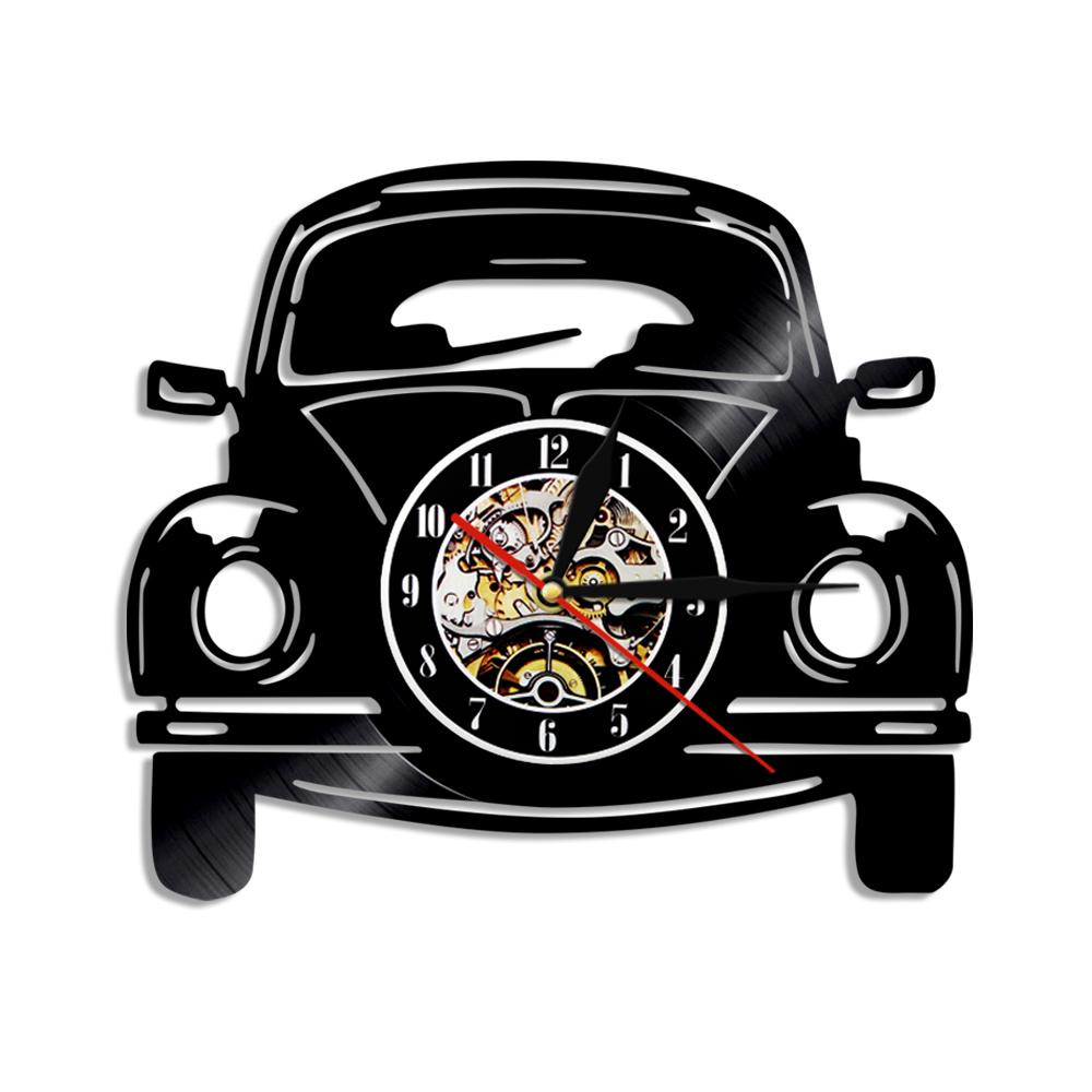 30CM Car Design Vintage Vinyl Record Wall Clock Car LED Light Modern Home Decoration Gift For Car Lovers
