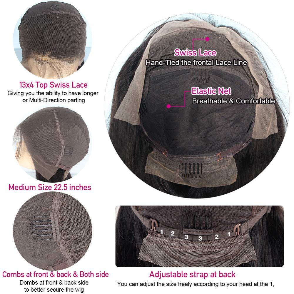 Синтетические волосы на кружеве человеческих волос Парики бразильского Волосы remy 13X4 закрытия парики предварительно сорвал объемная волна
