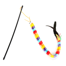 New Arrival Pet Kitten Cat Teaser Rainbow Feather Chaser Stick Rod Interactive Play Fun Toy Funny Soft Rainbow Sound Toy the rainbow feather