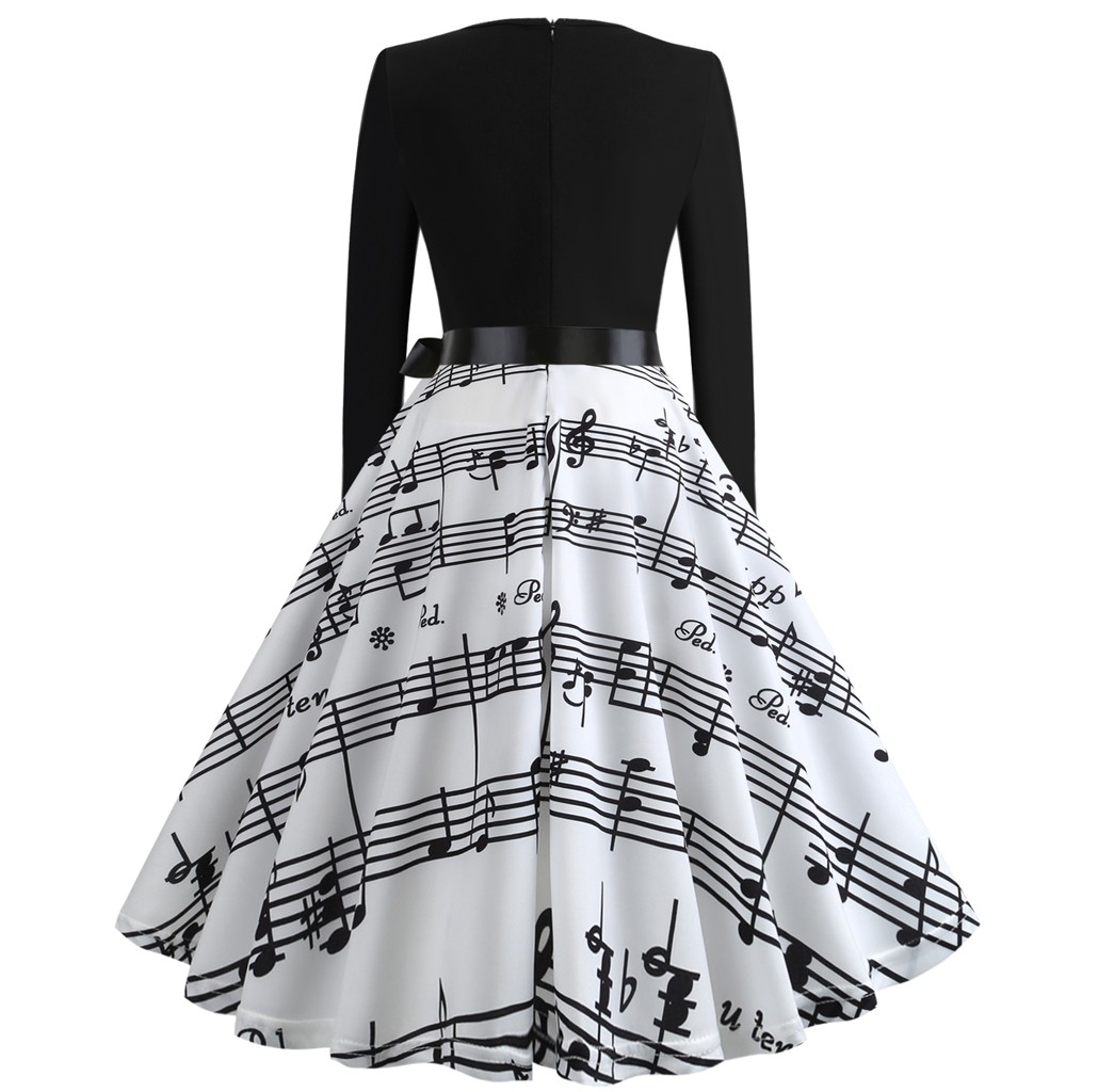 Impressão digital de natal vestido feminino outono inverno grande swing manga longa o pescoço vestidos moda elegante cintura alta vestido - 3