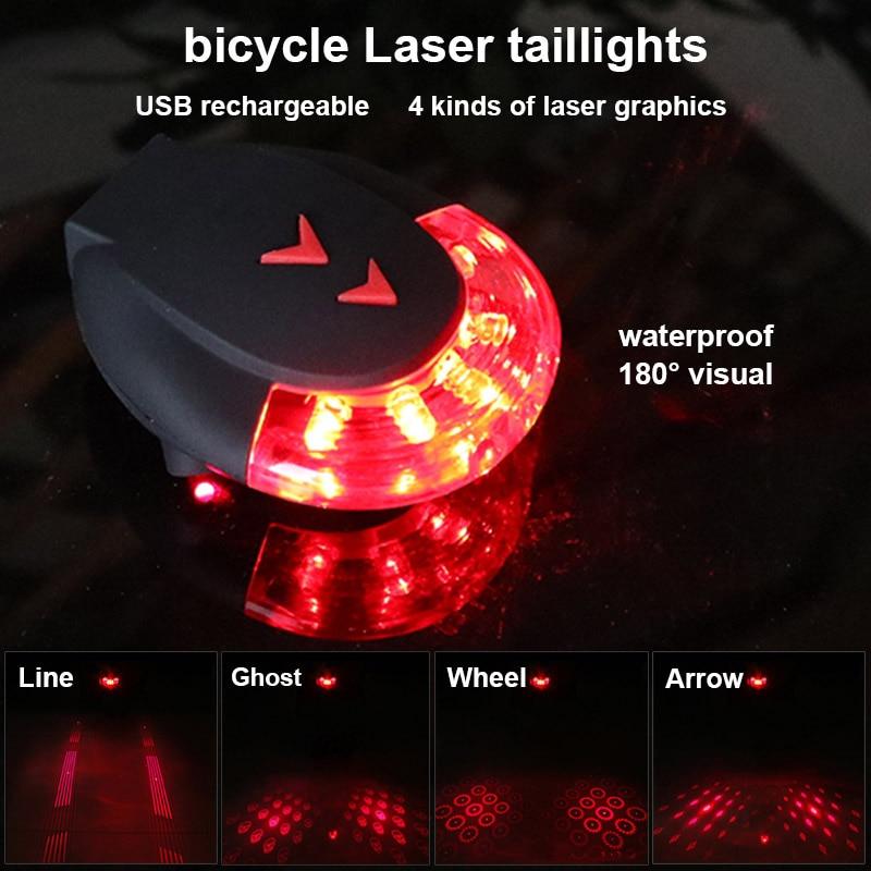 Купить с кэшбэком Bicycle Rear Light LED Laser Light USB Rechargeable Night Safety Cycling Warning Light Waterproof Bike Tail Light