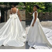 Silk Duchess Simple Satin Wedding Dress 2019 свадебное платье Arab Sexy Backless Sleeveless Bridal Gown Slip