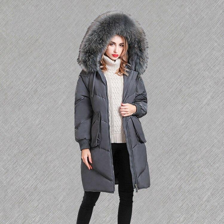 Winter Fashion Down Jacket Women Coat Long Loose Female Jacket Large Racoon Dog Fur Collar Parkas Mujer 2020 KJ606