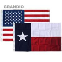 Домашний открытый Техасский Флаг США 3x5 футов водонепроницаемый прочный нейлон вышитые звезды сшитые полосы латунные втулки американские ...