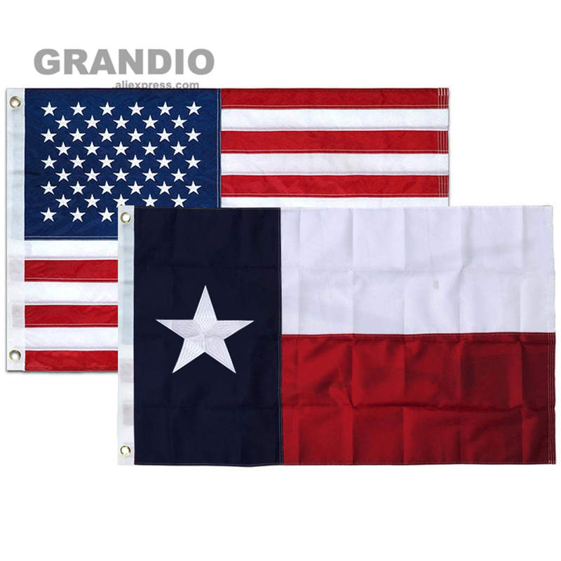 Home Outdoor Texas Flag USA 3x5 Ft Waterproof Durable Nylon Embroidered Stars Sewn Stripes Brass Grommets American Flags Banners