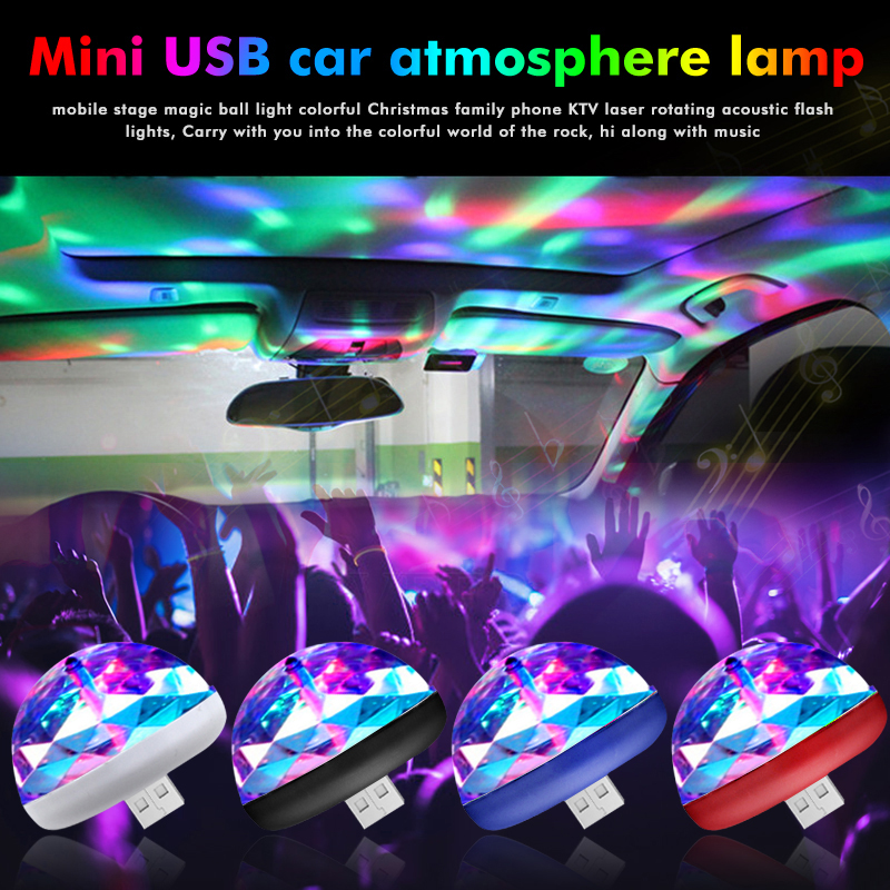 USB Mini Disco Stage Lights Led Xmas Party DJ Karaoke Car Decor Lamp Cellphone Music Control Crystal Magic Ball Colorful Light