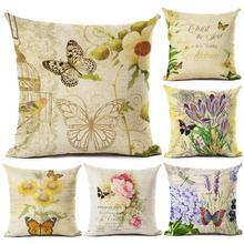 1 pieza Vintage Flor Mariposa impreso funda de cojín bordado en funda de cojín sofá sala de estar cama café decoración para el hogar