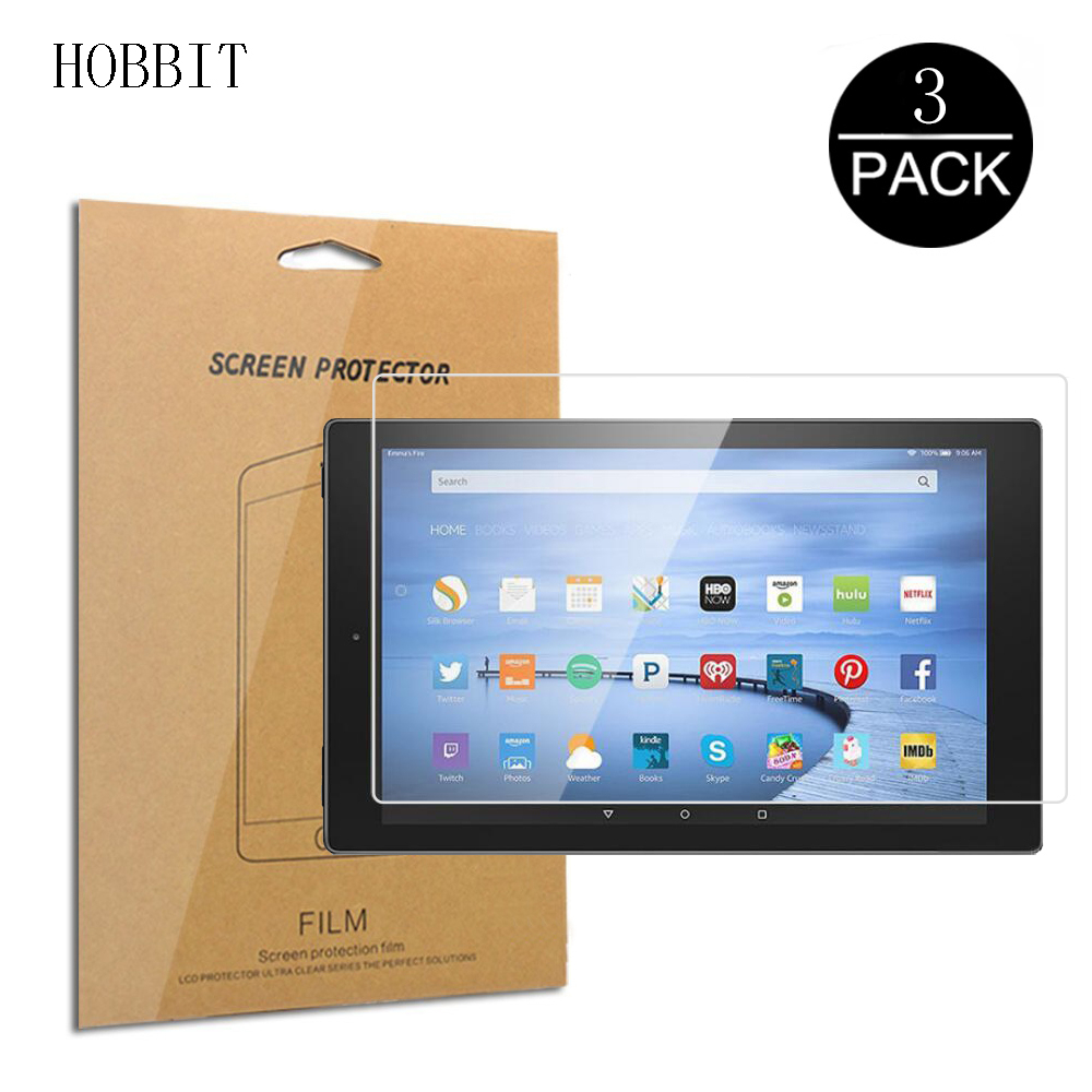 3Pcs HD Protetor de Tela Para Amazon Kindle Fire HD 7 8 10 2015 2016 2017 2019 HDX7 Clear LCD Tablet Anti-Scratch Filme Ultra-fino