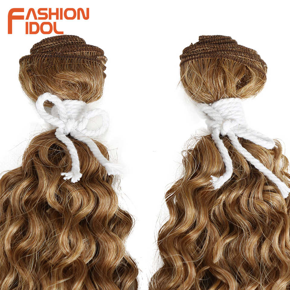 Mode Idol 22 Inch Synthetisch Haar Natuurlijke Kinky Krullend Wave Hair Extensions 2 Stks/partij Hittebestendige Ombre Weave Haar Bundels