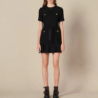 Women's 2019 Autumn / Winter New Black Stitching Pleated Mini Dresses Woman Party Night with Tassels