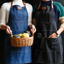 Hot Japanese style Denim Apron for Chef Kitchen Cooking BBQ For Woman man Adjustable Pocket Works bib smock