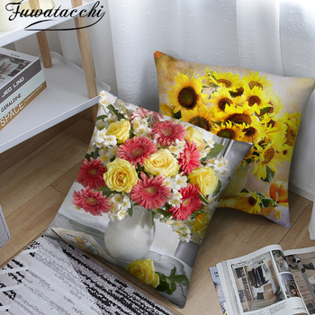 Fuwatacchi Colorful Sunflower Soft Cushion Cover Rose Flower Pillows Covers for Home Sofa Chair Decorative Pillowcases 45*45cm fuwatacchi black gold foil linen cushion cover leaf flowers diamond pillow cover for home chair sofa decorative pillows 45 45cm