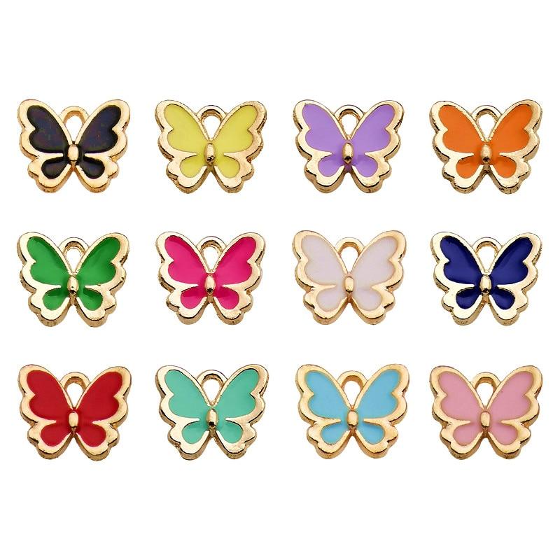 20 шт, смешанные цвета, Цвет бабочка эмалевые подвески-кулоны DIY Neacklace браслет для изготовления ювелирных изделий аксессуаров выводы 11x11mm