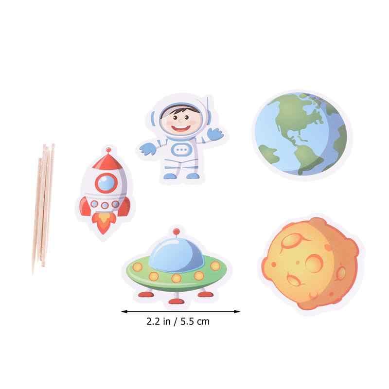 25Pcs Bolo Toppers Alienígena Pequena Nave Espacial Terra Modelado Bolo Toppers Picks Picaretas Frutas Sobremesa Fontes do Partido de Aniversário Do Bebê