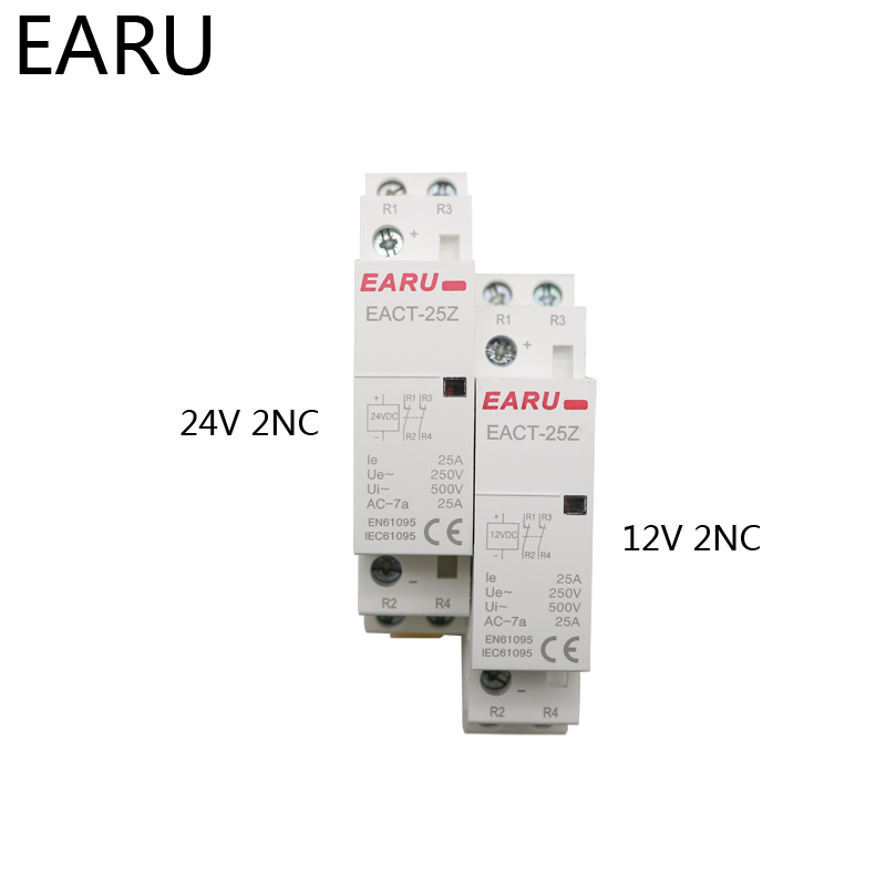 He98d9dc4768d46dd9a877003855158c1l - EACT-25Z DC 12V 24V 2P 16A 25A 1NO 1NC 2NO 2NC Contact Din Rail Household DC Modular Contactor Switch for Smart Home House Hotel