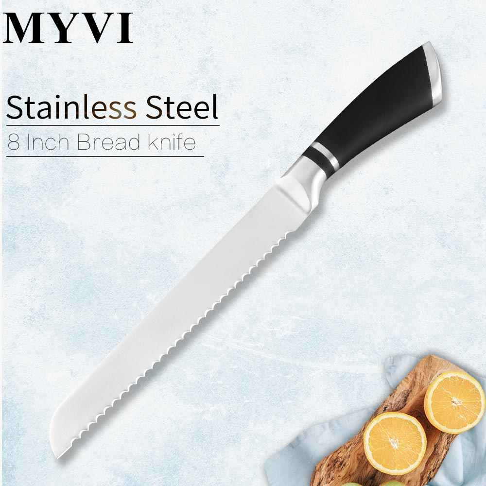 New Stainless Steel Knife Slicing Bread Knife 8 inch Kitchen Knives Tools Serrated Design Cutter For Cutting Bread Cheese Cake