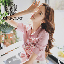 Dabuwawa Pink Solid Button Front Appliques Blouse Shirt Women Tops Short Sleeve Basic Blouses For Office Ladies DN1BST023
