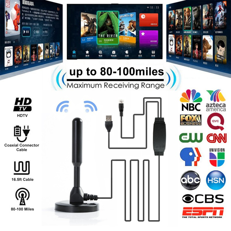 HD Digital TV Antenna 80-100 Miles Range VHF UHF Freeview Local Channels With Amplifier Signal Booster 5m Coax Cable