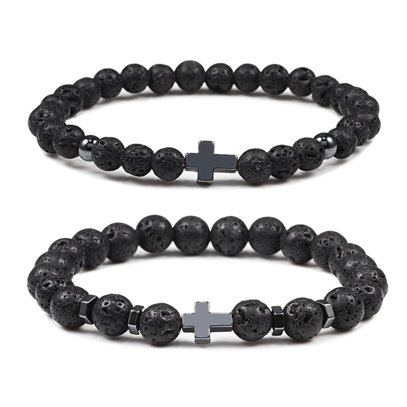 Natural Lava Stone Men Bracelets 6mm 8mm Black Onyx Beads Hematite Cross Charm Bracelet & Bangle Women Meditation Prayer Jewelry