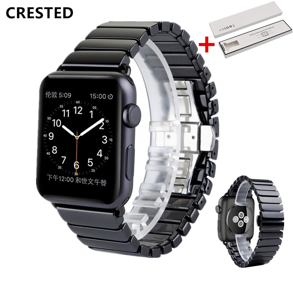 BOX+Ceramic Strap For Apple Watch Band apple watch 5 4 3 44mm/40mm iwatch band 42mm/38mm correa Link Bracelet watch Accessories