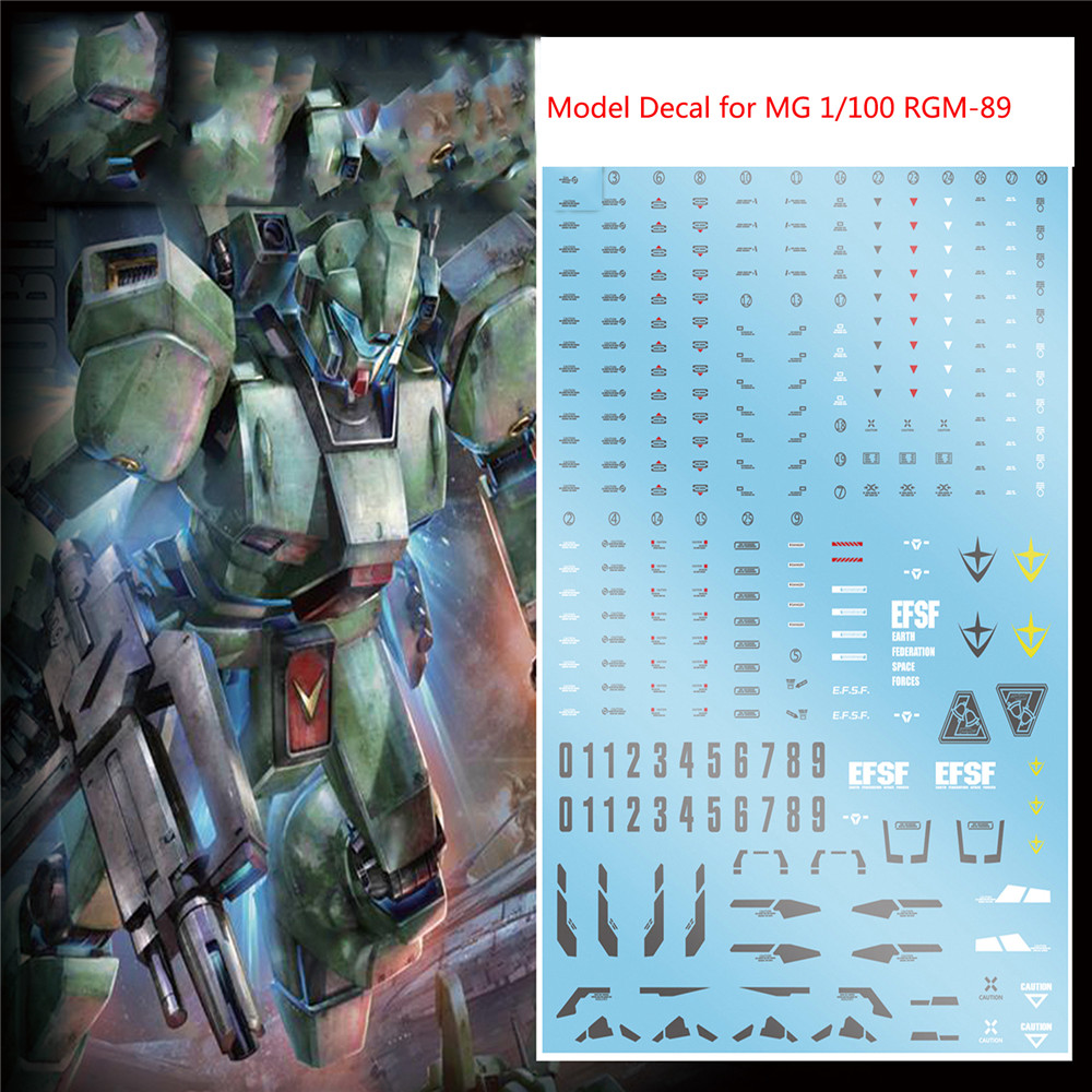 Decorative Model Sticker DIY Water Slide Decal For MG 1/100 RGM-89 Jegan Model Kit Gundam Accessories