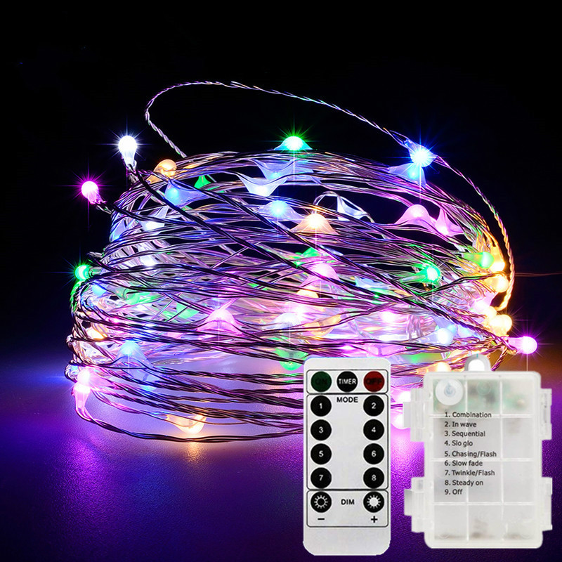 Fairy String Lights 8 Modes 33 Feet 100 Led With Battery Christmas Wedding Timer Control Operated Waterproof Copper Wire Twinkle