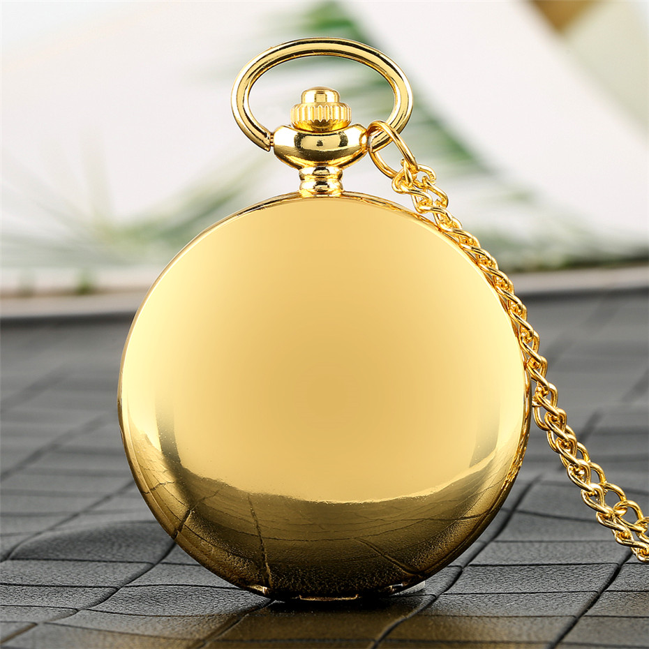 Roman Numerals Display Smooth Gold/Black Full Hunter Quartz Pocket Watch With Necklace Chain/Hanging Chain Antique Clock Gifts