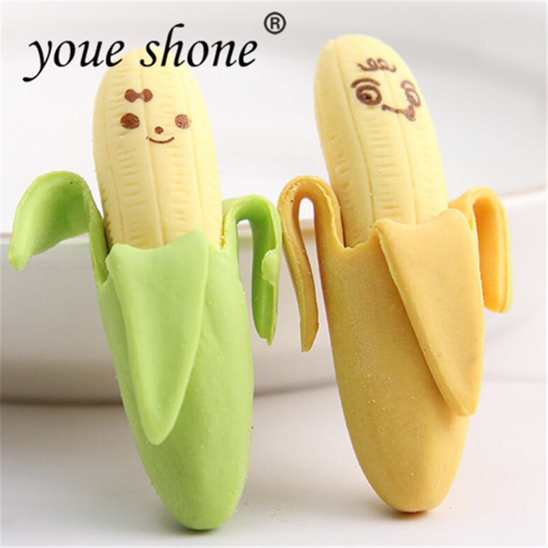 2Pcs/Lot Cute Banana Fruit Style Rubber Pencil Eraser School Erasers For Kids Studying Office Children Gift Wholesale YOUE SHONE