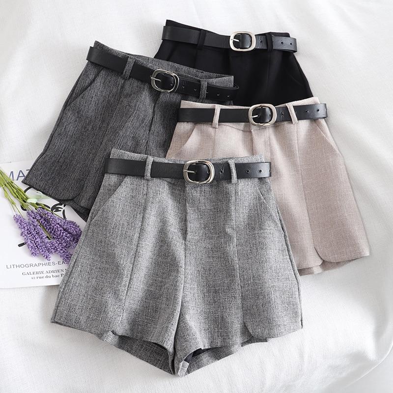 Suit 2020 Spring Summer Lady's   Retro High Waist Shorts High Waist A-line
