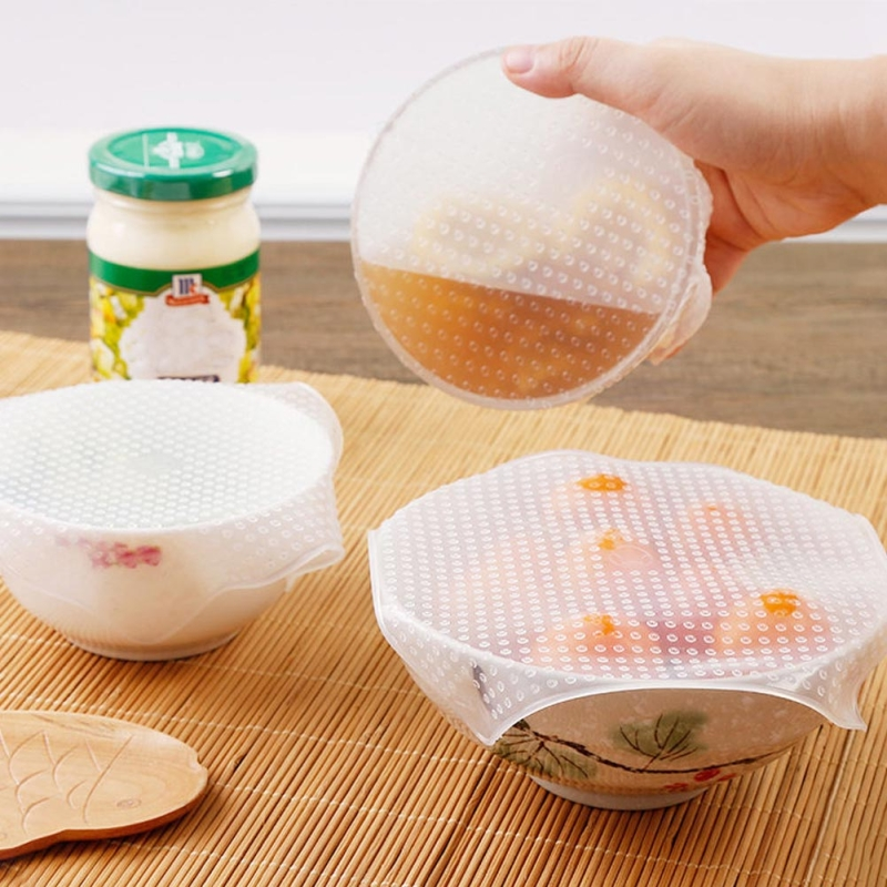 3pcs set Transparent Silicone Sealing Cover Can Be Reused Silicone Stretch Cover Multi purpose Plastic Wrap Food Preservation in Other Cookware Parts from Home Garden