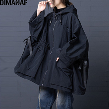 DIMANAF נשים מפציץ מעיל מעיל גדול גודל 2021 סתיו חורף בציר נשי הלבשה עליונה רופף גדול גודל ארוך שרוול ברדס בגדים