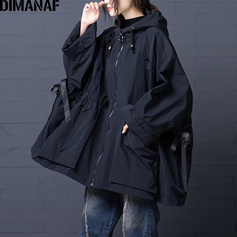 DIMANAF Women Bomber Jacket Coat Big Size 2019 Autumn Winter Vintage Female Outerwear Loose Big Size Long Sleeve Hooded Clothes