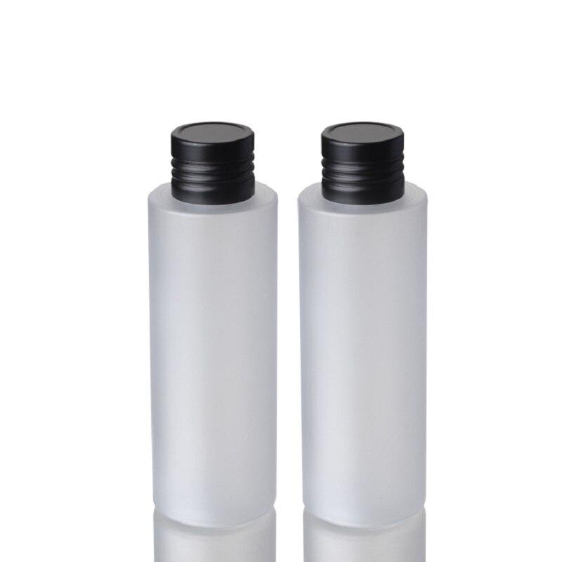 200 мл пустая морозная пластиковая круглая Косметическая упаковочная бутылка черная алюминиевая крышка дорожный многоразовый Контейнер 25 ш...