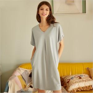 Image 1 - 2020 ฤดูร้อนหญิง Sweety Lace Sleepwear LADIES ชุดนอนผ้าฝ้ายผู้หญิงสั้นแขนยาวคอชุดนอน PLUS ขนาด XXL