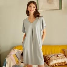 Camisón de algodón de manga corta con cuello de pico para mujer, ropa de dormir informal, XXL talla grande, verano 2020