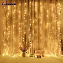 2x2/3x3/3x6 м Светодиодная сосулька, светодиодная занавеска, сказочный светильник, сказочный светильник, 300 светодиодный Рождественский светильник для свадьбы, дома, окна, вечерние украшения