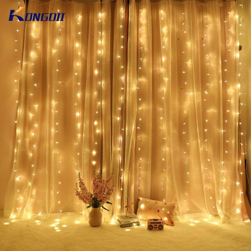 2X2/3X3/3X6 M Led Ijspegel Led Gordijn Fairy String Light Fairy licht 300 Led Christmas Light Voor Bruiloft Thuis Venster Party Decor
