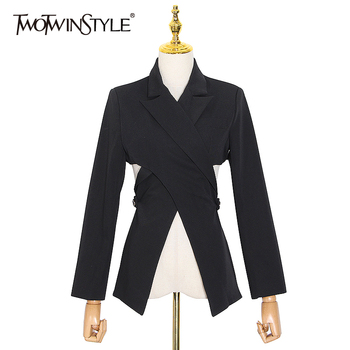 TWOTWINSTYLE Hollow Out Blazer For Women Notched Collar Long Sleeve Casual Black Blazer Female 2020 Autumn Fashion New Clothes twotwinstyle korean hollow out sweatshirt for women o neck long sleeve casual black sweatshirts female 2020 fall fashion new