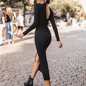 Image 2 - Simplee Sexy Bodycon dress Elegant office lady autumn o neck long sleeve dress Backless work wear slim fit long party dress