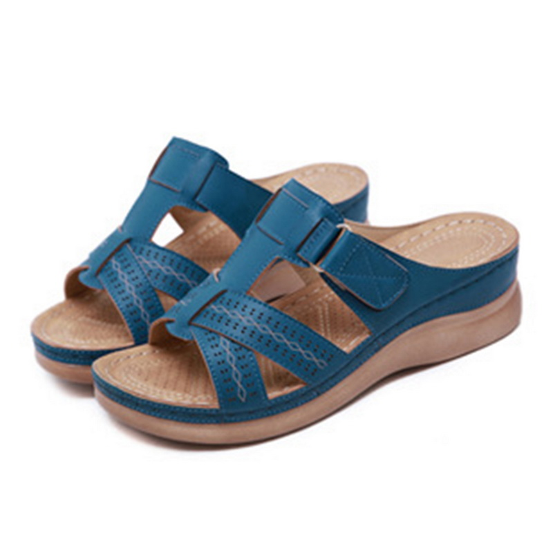 Summer Female Sandals Car Line Wear-resistant Anti-slip Large Size Retro Wedge With Thick Bottom Comfortable Sandals