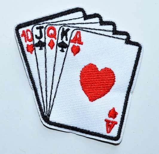 Лидер продаж! ACE OF SPADES казино карты AKQ ROYAL FLUSH покер SEW SOW IRON ON BADGE (размер около 6,6*6,4 см)