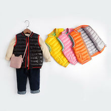 Зимний детский жилет для маленьких мальчиков и девочек теплая куртка сплошная на молнии без рукавов зимний комбинезон От 2 до 7 лет