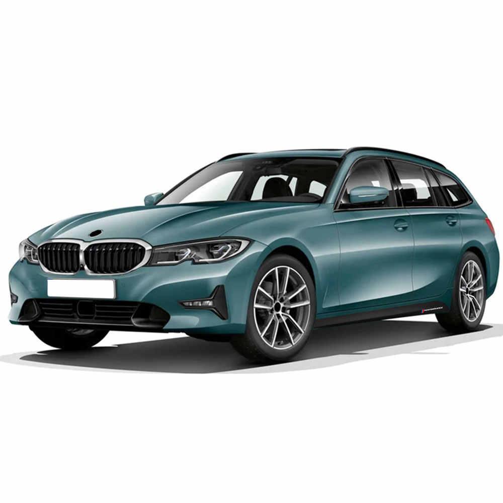 Pegatina de faldón de rayas laterales para puerta de coche 2 uds., pegatina de cuerpo de vinilo de fibra de carbono 5D de rendimiento para BMW 3 Series G20 M340i, accesorios