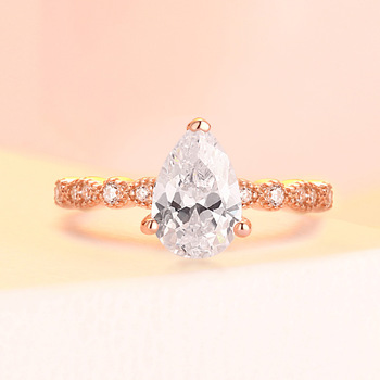 Real 925 Silver Ring For Woman Rose Yellow Whitel Gold Color Pear Simulated Diamond  CZ Stone Wedding Engagement Rings Gift 4