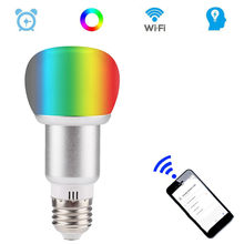 E27 Wireless Smart WiFi Light Bulb 10W RGB Dimmable Colorful Voice Control Lamp AC85-265V QP2(China)